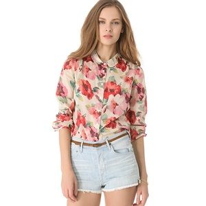 Madewell Printed Cotton Mia Blouse Size S
